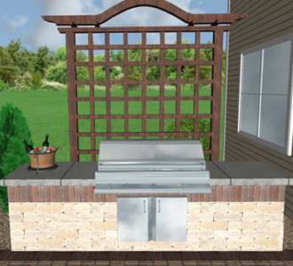 Digital 3D rendering of an outdoor grill and trellis