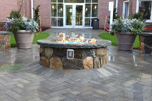 Fire pit outside of building.