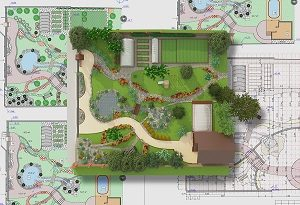 Landscape design plan including 3D rendering.