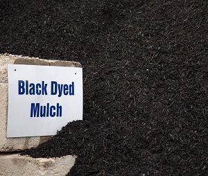 Pile of black dyed mulch with sign.