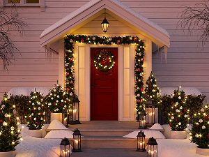 Front porch decorated for the Holidays