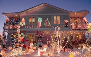 A home is completely decorated for the holiday season